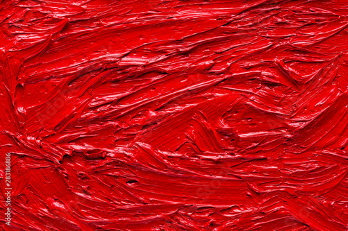 fototapeta na drzwi i meble Abstract red oil painting close-up background