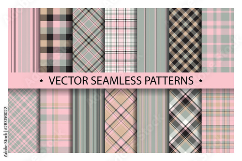 obraz PCV Set plaid pattern seamless. Tartan patterns fabric texture. Checkered geometric vector background. Scottish stripe blanket backdrop