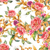 Watercolor golden baroque floral curl with blooming flowers seamless pattern. Roses and Peonies, rococo texture