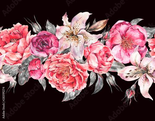 Leinwandbilder - Vintage Watercolor Seamless Border with Blooming Flowers. Roses and Peonies, Royal Lilies.