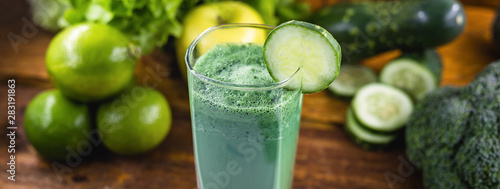 Fresh green juice, Brazilian detox juice. drink that has components that favor liver cleansing, enhancing the elimination of toxins that overload our body. Diet or regimen concept.