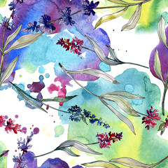 Fototapeta Do salonu kosmetycznego Lavender floral botanical flowers. Watercolor background illustration set. Seamless background pattern.