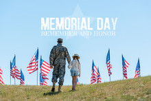 Back View Of Father In Military Uniform Holding Hands With Daughter Near American Flags With Memorial Day Illustration