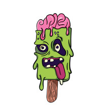 2D Flat, Abstract Character Design Ice Cream Zombie Will Be Melted, Vector Creative Illustration Cute Cartoon Object On White Background For Decoration Graphic Design And Artwork, Halloween Concept.