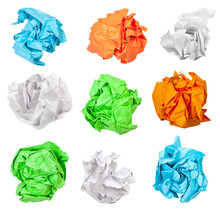 Various Crumpled Paper Balls Isolated On White
