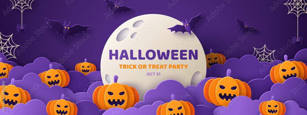 Fototapety, obrazy: Halloween paper cut banner