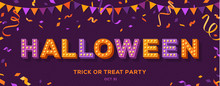 Halloween Text On Violet Banner