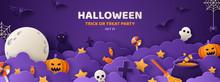Halloween Violet Paper Cut Ban...