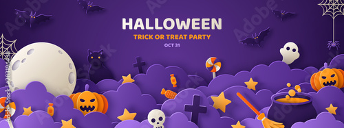 Halloween violet paper cut banner Canvas Print