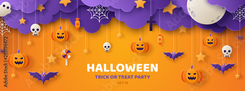 Halloween orange paper cut banner Fotobehang