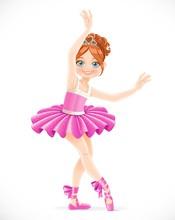 Cartoon Ballerina Girl In Pink...