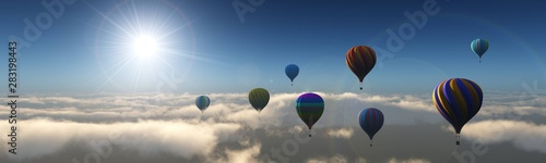 Fotografie, Obraz  Balloons over the clouds. Balloons flying high in the sky.