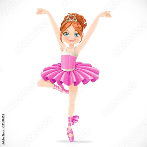 Obraz na plátně  Ballerina girl in pink tutu dancing on one leg isolated on a white background