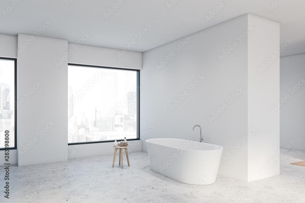 Fototapeta Spacious white bathroom corner with tub