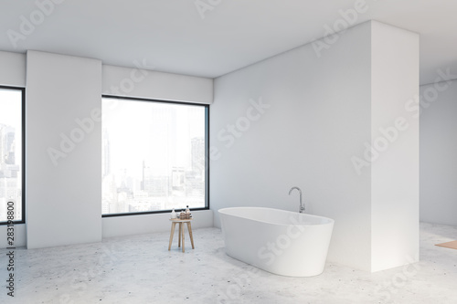 Fototapety, obrazy: Spacious white bathroom corner with tub