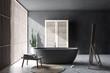Leinwanddruck Bild Gray bathroom interior with wardrobe