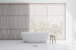 Leinwanddruck Bild Light wooden and white bathroom with tub