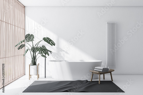 Foto auf Leinwand Logo White and light wood bathroom with tub