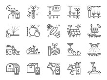 Smart Farming Line Icon Set. Included Icons As Farmer, Agriculture, Planting, App, Online Control And More.
