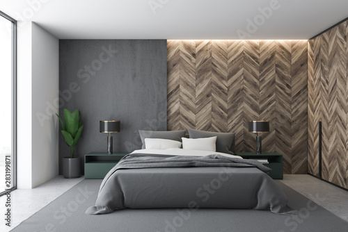 Gray and wooden master bedroom interior – kaufen Sie dieses ...