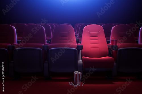 Row of empty red cinema seats Fototapet