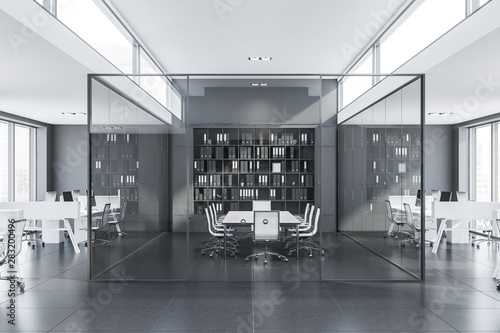 Fototapeta Glass meeting room in gray office