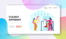 Female Character Shopping Website Landing Page. Young Woman Choosing Fashioned Dress In Store, Sales Woman Assistant Offer Garment Of New Collection Web Page Banner. Cartoon Flat Vector Illustration