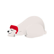 Polar White Bear In The Red Santa's Hat Cartoon Flat Vector Illustration Isolated.