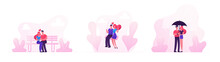 Loving Couples Set. Young People In Love Spend Time Together, Man And Woman Walking Under Umbrella In Rainy Weather, Hugging And Kissing On Bench And Riding Swing. Cartoon Flat Vector Illustration