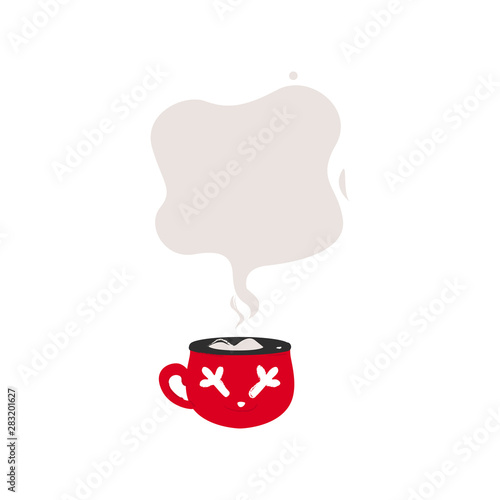 Fotografering  Red coffee cup with steam smoke speech bubble for text template