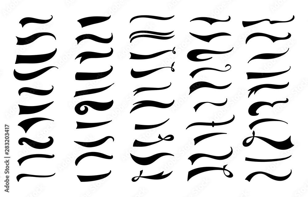Fototapety, obrazy: American vintage swoosh decoration set - retro swirl and wave lines for baseball lettering decoration