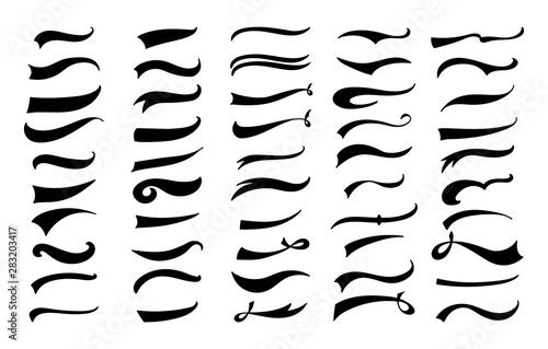 Fototapeta American vintage swoosh decoration set - retro swirl and wave lines for baseball lettering decoration obraz