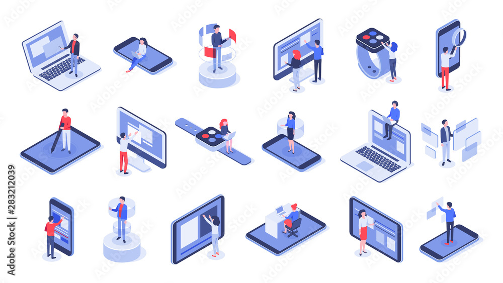 Fototapeta Isometric user interface. Online office, device interactions and touch mobile interfaces. Message sharing social app test drawing, ui seo process testing. Isolated 3d icons vector set