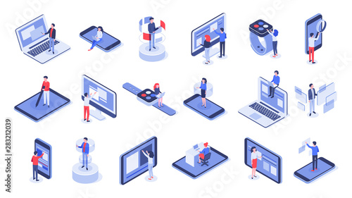 Obraz Isometric user interface. Online office, device interactions and touch mobile interfaces. Message sharing social app test drawing, ui seo process testing. Isolated 3d icons vector set - fototapety do salonu