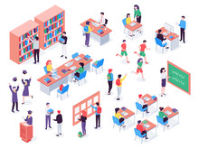Isometric School. Childrens And Teacher In Classroom, Students In Schools Library And Education Classroom. Pupils Social Communication On Math Lesson. Isolated Vector 3d Illustration Icons Set