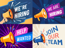 Now Hiring Banner. We Are Hiring, Join Our Team And Vacancy Announcement Flyer Template. Recruitment Companies Advertisement, Leandership Job Career Vacancy Hr Offer Vector Set