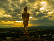 Wat Phrathat Khao Noi With Sunrise And The Mist. This Temple Is The Best Location  View Of Nan Province, Thailand.