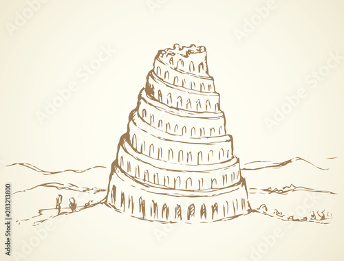Canvas Tower of Babel. Vector drawing
