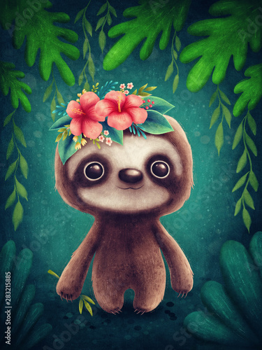 Canvas Print Cute sloth