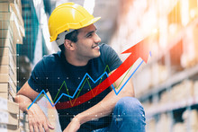 Smart Indian Engineer Man Wearing Safety Helmet Doing Stock Tick Check And Cardboard Stock Product Management In Factory Warehouse Background And Profit Chart Grow Up