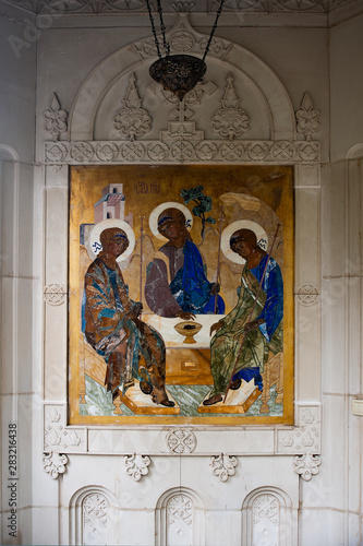Canvas Print The Holy Trinity icon of Andrei Rublev glorified the school of Russian icon all over the world