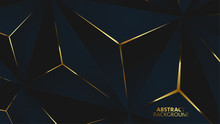 Abstract Black Polygon Gold Light Futuristic Technology Design Background Vector Illustration.