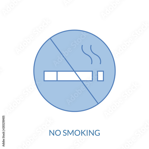 No smoking cigarette line icon, outline vector sign, linear style pictogram isolated on white Wallpaper Mural