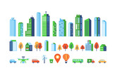 Fototapeta Miasto - Smart city elements with modern buildings and network connection for graphics design.