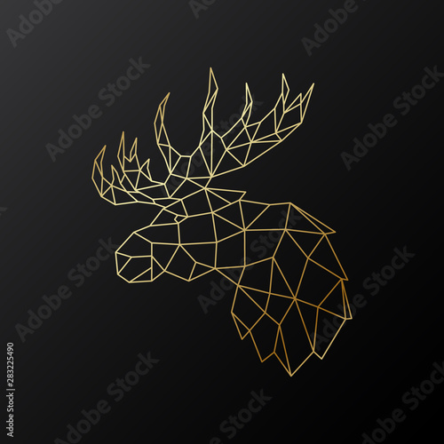 Golden polygonal Elk illustration isolated on black background Fototapeta