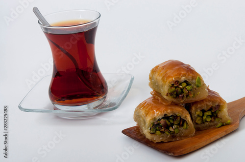 Tea and baklawa with white background Wallpaper Mural