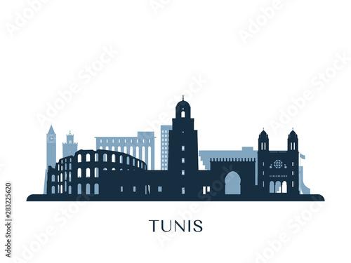 Valokuvatapetti Tunis skyline, monochrome silhouette. Vector illustration.