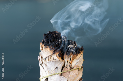Pinturas sobre lienzo  Smudging Ritual using burning thick leafy bundle of White Sage on the beach at sunrise in front of the lake