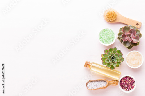 Poster Spa Spa background with handmade bio cosmetic and cactus composition, flat lay, space for a text - Image.