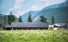 Solar Panels, Photovoltaic - Alternative Electricity Source . The Roof Of The Dairy Farm Is Completely Covered By Solar Panels.